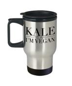 Vegan Travel Coffee Mug - Kale Yeah I'm - Vegetable Lover Gifts - 410ml Stainless Steel Cup