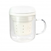 Saveur et Degustation ka2126 Mug infuseur-320ml, Transparent Glass, White, 8 x 10.6 x 10.2 cm