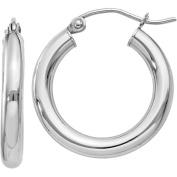 10k White Gold 3mm Hoop Earrings