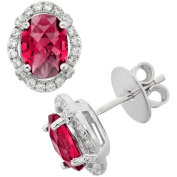 5th & Main Platinum-Plated Sterling Silver Oval Double-Cut Ruby Corundum Pave CZ Earrings