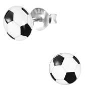 Hypoallergenic Sterling Silver Soccer Ball Stud Earrings for Kids