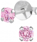 Hypoallergenic Sterling Silver 3mm Pink CZ Simulated Diamond Stud Earrings for Kids