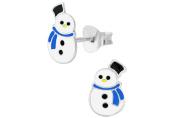 Hypoallergenic Sterling Silver Cute Snowman Christmas Stud Earrings for Kids