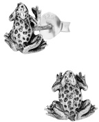 Hypoallergenic Sterling Silver Cute Tiny Frog Stud Earrings for Kids