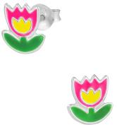 Hypoallergenic Sterling Silver Pink & Yellow Flower Stud Earrings for Kids