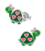 Hypoallergenic Sterling Silver Turtle with Hearts & Bow Stud Earrings for Kids