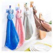 Comfysail 4 Pcs Cute Rabbit Hand Towels Super Coral Velvet Soft Absorbent for Kids Hand Wash Towel or Dish Cloth