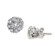 14k White Gold Flower Cluster Diamond Earring G-H Colour I1-I2 Clarity