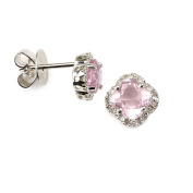 14k White Gold Four Leaf Diamond Earring with Pink Stone with .10 Ct Diamonds H-I Colour SI2-I1 Clarity