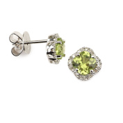 14k White Gold Four Leaf Diamond Earring with Peridot Stone with .10 Ct Diamonds H-I Colour SI2-I1 Clarity