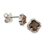 14K White Gold Four Leaf Diamond Earring with Smokey Stone with .10 Ct Diamonds H-I Colour SI2-I1 Clarity