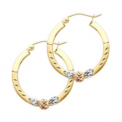 Womens Solid 14K Yellow Gold Flower Square Hoop Earrings