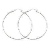 14K White Gold Lightweight Tube Round Hoop Earrings - 50mm