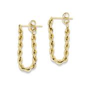 14K Yellow Gold Hollow Rope Dangle Earrings