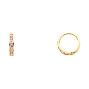 14K Solid Yellow Gold Pink and White Cubic Zirconia Womens 2mm Huggie Earrings