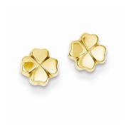 14K Yellow Gold 4 Leaf Clover Stud Earrings