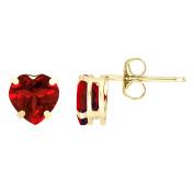 1.60 cttw Heart 6MM Red Rhodalite Garnet 10K Yellow Gold Stud Earrings