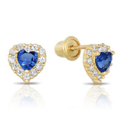 14k Yellow Gold SImulated Birthstone and CZ Halo Stud Heart Earrings for Girls