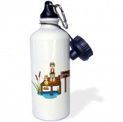 3dRose Cute Dad and Son Fishing On A Dock Illustration, Sports Water Bottle, 620ml