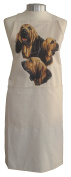 Bloodhound Group Breed of Dog Themed Natural Cream Cotton Bib Apron - Baker Cook Gift