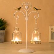 XQ Candlestick European Rural Iron Art Glass Candlestick