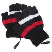 Half Finger Plush Stripe USB Heating Gloves Winter Warm USB Heated Laptop Gloves Mittens Hand Warmer