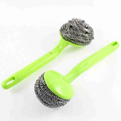 Move & Moving(TM) Plastic Grip Steel Wire Bowl Cleaning Ball Scourer Brush 2 Pcs Green