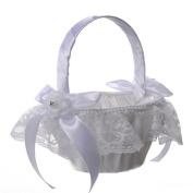 Romantic Wedding Flower Girl Basket, Satin Bowknot Flower Basket, Rhinestone Lace Flower Wedding Basket, Marriage Props Wedding Party Decoration Supplies - White,22x15cm