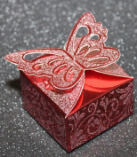 MHA UK branded Luxurious square butterfly favour boxes with glitter detail favour box