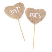 Rustic Wedding Party Decor Heart Shape Mr Mrs Food Picks Cake Flags