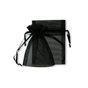 Flyyfree 100 Black jewellery wedding organza gift bags 7 x9 cm distribute