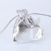 50pcs Drawstring Voile Jewellery Pouch Wedding Party Favour Gift Bags Silver