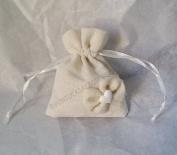 Set of 12 Cream Fabric Jute Bags with Chalk Portaconfetti Dim 8 x H10 cm 4419les