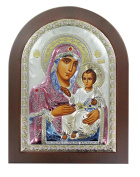 Serigraph Icon Picture Shackle M. Virgin of Jerusalem in Plain in Silver with Size 20 x 26 cm.