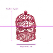 Mini for Bonbonnière Metal Fuchsia Favour Container Aviary Bird Cage Height 5.5 cm, Ø 4.5 cm