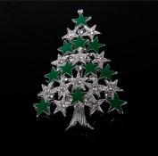 EOYHDSIA Cute Fashion Christmas Tree Stars Crystal Brooch Pin