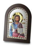 Serigraph Icon Jesus Shackle Pantokrator in Plain in Silver with Size 10 cm x 14 cm.
