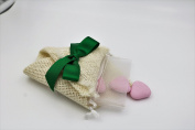 3 x Bag Portaconfetti Shabby Chic Made In Italy Handmade Jute and Green Ribbon with Confetti Port Rice in Organza