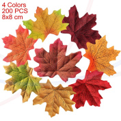 wocharm 200pcs 8X8cm Mixed Artificial Autumn Maple Leaves Autumn Colours Great Autumn Table Scatters For Fall Weddings Festivals Party Christmas Valentine Halloween Home Decor