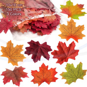 wocharm150 pcs 10X10cm Mixed Artificial Autumn Maple Leaves Autumn Colours Great Autumn Table Scatters For Fall Weddings Festivals Party Christmas Valentine Halloween Home Decor