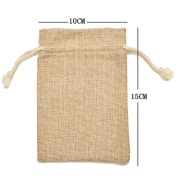 SevenMye Vintage Burlap Jute Sacks Weddings Party Favour Drawstrings Gift Bags 5pcs