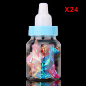 AllRight Fillable Bottles Candy Bottle Gift Box Baby Shower Plastic Party Great Gift Blue 24 Pcs