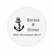 eKunSTreet ® 48x PERSONALISED 40mm Round Wedding Engagement Favour Stickers,Favour Love Anchor Sticker,Invitation Envelopes Seals,Sweet Bag Labels, Shabby chic Wedding Craft Embellishment - Rd 083