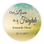 eKunSTreet ® 48x PERSONALISED 40mm Round Wedding Engagement Favour Stickers,our Love is a Fairytale Sticker,Maple leaves Invitation Envelopes Seals,Sweet Bag Labels, Shabby chic Wedding Craft Embellishment - Rd 062