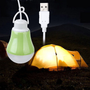 Fengh Portable USB Powered LED Bulb Lamp 1M Cable Light Green Shell DC 5V 3W
