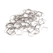 sourcingmap® 100Pcs Chandelier Connectors Buckle 10mm Width Chrome Tone for Fastening Crystal