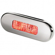 Hella Marine Surface Mount Oblong LED Courtesy Lamp - Red LED - Stainless Steel Bezel