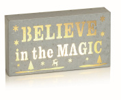 """20cm Indoor Lit Sign with Warm White LEDs - Reads """"Believe in the Magic"""" - Festive Home Decorations"""