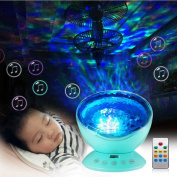 Gemini_mall® Remote Control Ocean Wave Projector Night Light Lamp with Built-in Music Player, 12 LED, 7 Colourful Lighting Modes, for Kids Adults Nursery Bedroom Bathroom Living Room