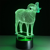 baby Q 3D LED Night Light, Lamb Colourful Touch Stereo Lamp, Acrylic Lamp, USB Light